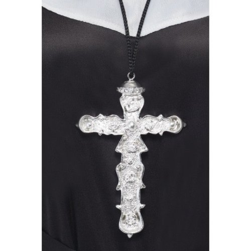 Smiffy's Adult Unisex Ornate Cross Pendant, Silver, One Size, 21291