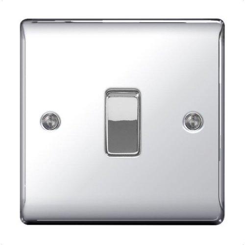 masterplug BG Electrical NPC12 Nexus Metal Polished Chrome 1 Gang 2 Way 10 A Plate Switch