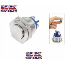 Waterproof Stainless Steel Push Button Momentary ON/OFF Horn Switch 16mm Silver