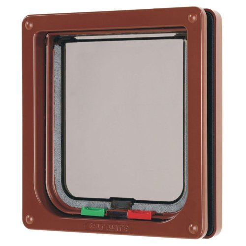 4 Way Locking Cat Flap Brown 16.5x17.4cm