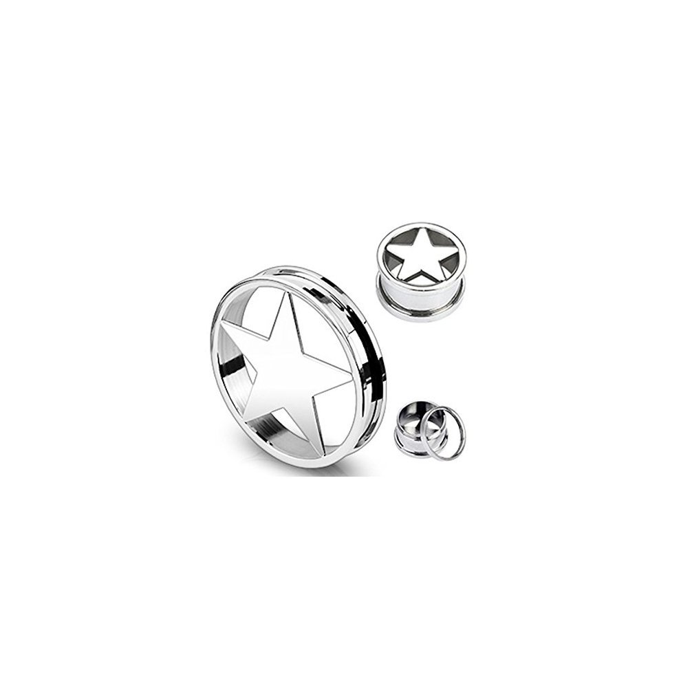 Surgical Steel Star Shape Cut Out Screw Fit Hollow Ear Tunnel Saddle Plug Piercing Finest Quality