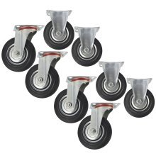 "5"" (125mm) Rubber Fixed and Swivel Castor Wheel Trolley Caster (8 Pack) CST06_07"