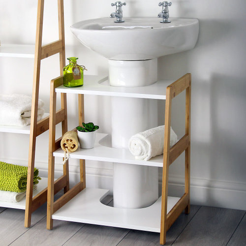 Merveilleux White U0026 Bamboo Bathroom Under Sink Basin Storage Shelving Unit
