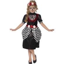 Smiffy's Children's Sugar Skull Costume, Dress & Rose Headband, Ages 10-12, -  costume sugar dress skull fancy halloween girls day dead kids outfit