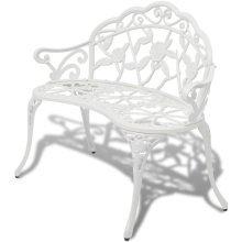 vidaXL Garden Bench White Cast Aluminium