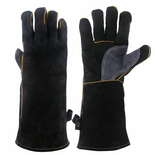 KIM YUAN Extreme Heat & Fire Resistant Gloves Leather with Kevlar Stitching,Perfect for Fireplace, Stove, Oven, Grill, Welding, BBQ, Mig, Pot...