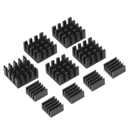 Black Aluminum Heatsink Cooler Cooling Kit for Raspberry Pi 3, Pi 2, Pi Model B+, 10 Pieces