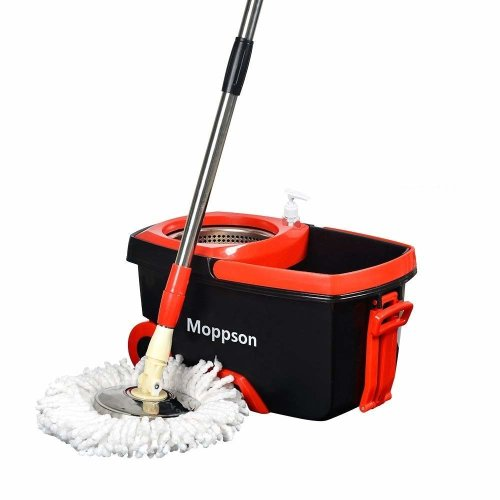 Spin Mop Bucket System - Moppson Stainless Steel 360 Spin Mop with Extended EasyPress Handle and 2 Microfiber Mop Heads,Bucket with Wheels and...