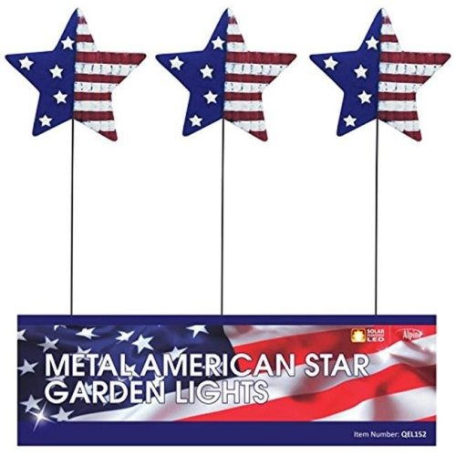 Alpine Corp QEL152 Patriotic Metal Flag Garden Stake  Pack of 18
