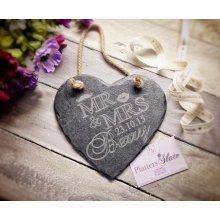 Personalised Mr & Mrs Wedding Slate Heart Hanger - 20cm