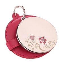 Portable Princess Mirror Vanity Mirror Little Handheld Makeup Mirror Diameter 6.2CM (Red)