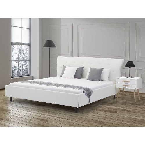 King Size - 5 ft 2 inch - Leather Bed 160x200 cm - incl. frame - SAVERNE white