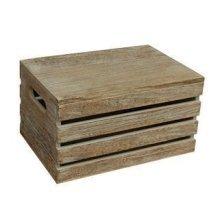 Small Oak Effect Lidded Storage Box