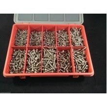 900 Assorted Stainless Steel Pozi Pan Head Self Tapping Screw 10 sizes in Box