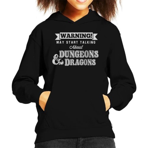 Warning May Start Talking About Dungeons And Dragons Kid's Hooded Sweatshirt