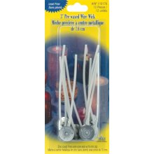 "Pre-Waxed Wire Wicks W/Clips 3"" 12/Pkg-"