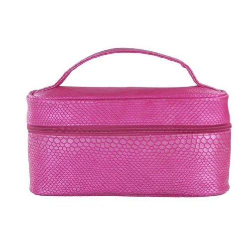 Picnic Gift 7566-PK Lemondrop-Chic & Classy Insulated Cosmetics Bag For The Minimalist Cosmoqueens, Pink Reptilian
