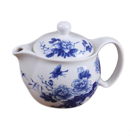 Peony Teapot With Tea Infuser Blue Stylish Ceramic Tea Kettle