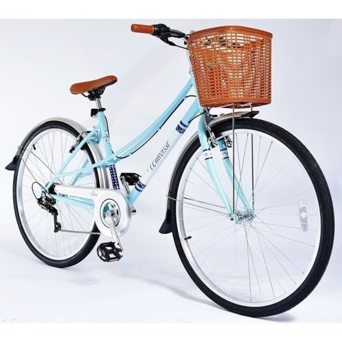 700c Chic Womans Ladies BIKE - Hybrid Retro Basket Commuter Bicycle 6 Speed