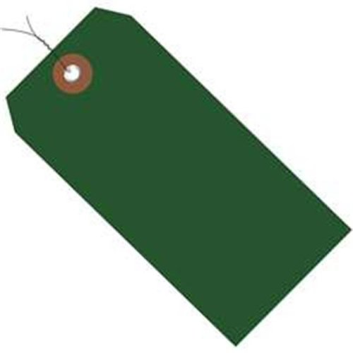 Box Partners G26054W 4.75 x 2.38 in. Green Plastic Shipping Tags - Pre-Wired - Pack of 100