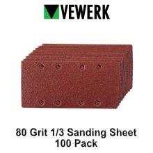 Vewerk 80 Grit Sanding Sheet 1/3 Sander 93mm x 190mm Hook and Loop 100pk