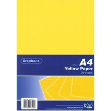 Stephens 20 Sheets 80 Gsm Paper - Yellow -  stephens yellow paper 80gsm 20 sheets