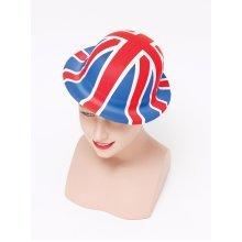 Union Jack Plastic Bowler Hat -  union jack plastic bowler budget fancy dress hat bristol novelty bh276 UNION JACK BOWLER HAT PLASTIC ENGLAND UK