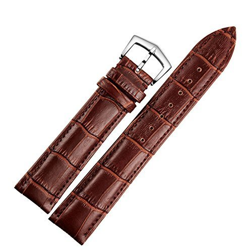 12mm Women's Brown Leather Watch Band Straps Replacement Genuine Calf Hide Lightly Padded