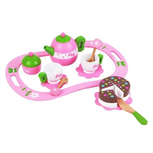 Lelin 14 PCS Wooden Pink Tea Set Pretend Play Role Play Toy for Children
