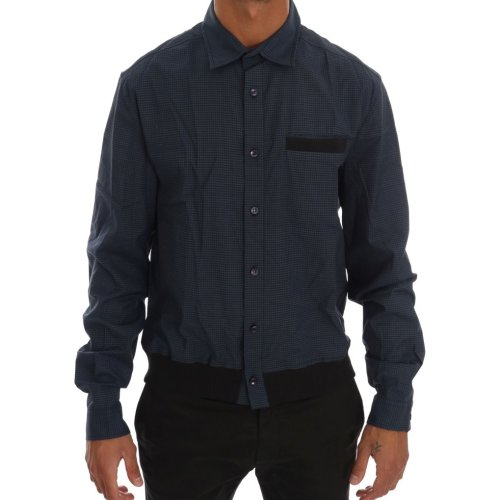 Galliano Blue Casual Cotton Stretch Long Sleeve Shirt