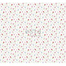fabric flowers multicolor on white - 187307