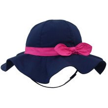 Children's Outdoor Sun Beach Hat With Bow For Baby Girls(Black)