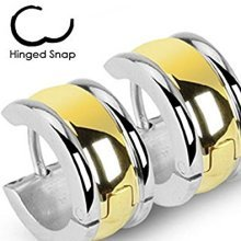 Pair Of Gold Plated Centered Surgical Steel Hinged Snap Close Wide Huggy Hooped Earrings 0.8mm Thickness