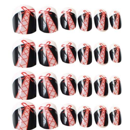 24 Pcs Fashion Nails Stickers Beautiful Nail Decorations False Nails Tips [P]