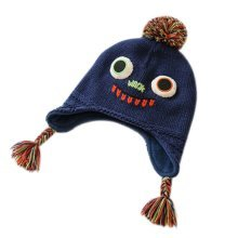 Warm Hat Knitted Hat Plus Velvet Ear Protection Hat Big Eyes Pattern
