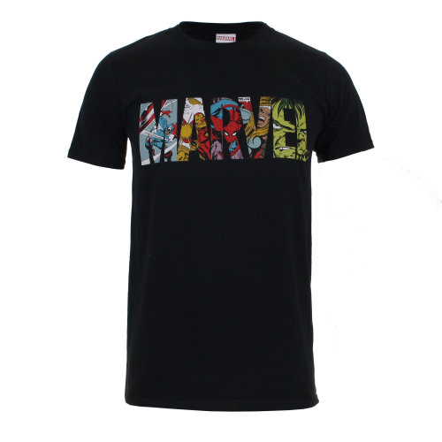 Marvel Comic Strip Logo Mens T-shirt Black