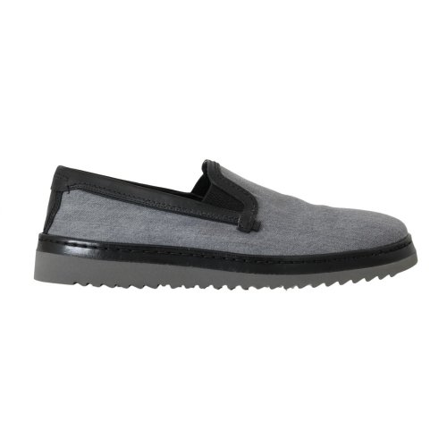 Dolce & Gabbana Gray Black Cotton Leather Loafers