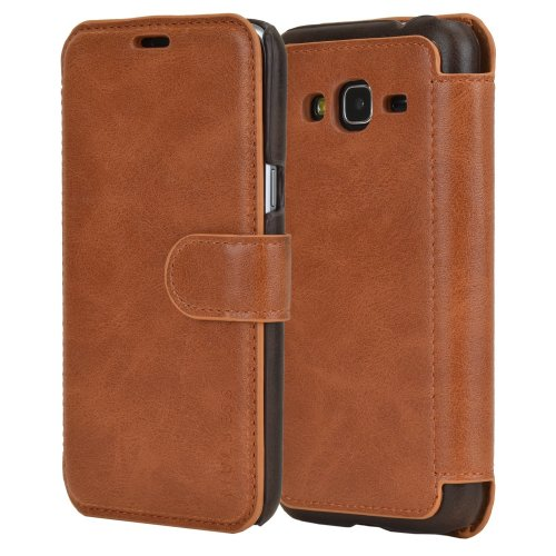 Samsung J3 2016 Case - PU Leather Flip Case Cover With Wallet for Samsung Galaxy J3 J320F [5.0 Inch] 2016 Model,Cognac Brown