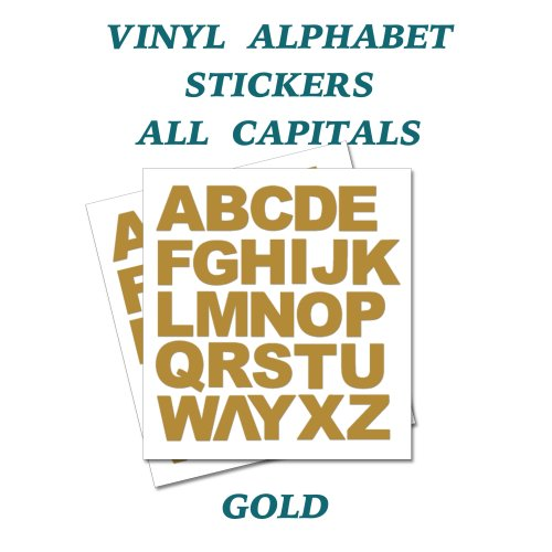 2 x  Full Alphabet Gold Letters Self Adhesive Vinyl Stickers size 20mm