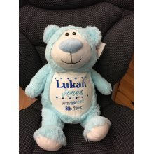 Pale Blue Teddy Bear Personalised Embroidered Name Message/Birth Date