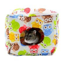 Cute Hamster Ger Soft Pet House with Bed Mat for Small Furry Animals,14*13*12 CM