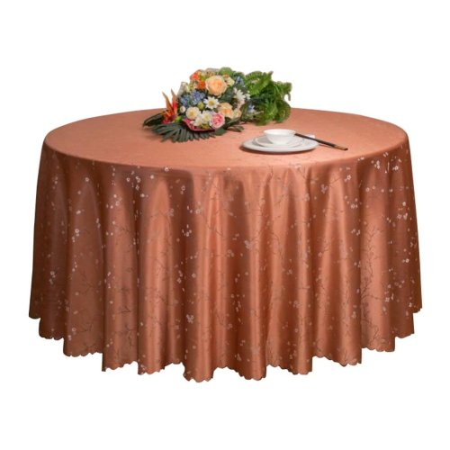 Flower Hotel Tablecloth Restaurant Round Household Cloth-Light Brown