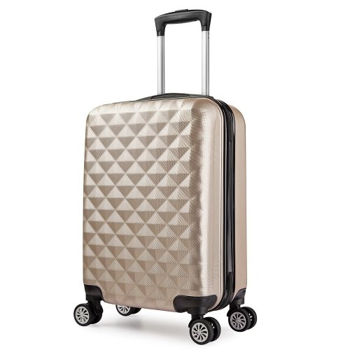 PARTYPRINCE Suitcase Cabin Luggage Champagne Hard Shell ABS 20 inch 43L Trolley 4 Wheel Lightweight Lock Multicolored