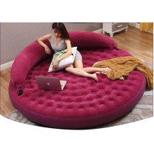 Round Soft Double Folding Inflatable Chair Air Sofa Cushion Couch Bed