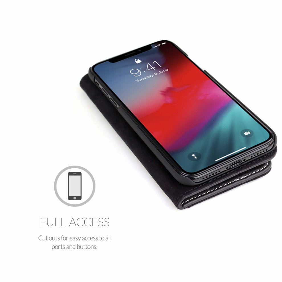 pretty nice 22c5c 43b71 Snugg iPhone XS (2018) / iPhone X (2017) Legacy Leather Flip Cover for  Apple iPhone XS / iPhone X - Blackest Black