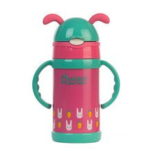 Cute Stainless Steel Water Bottle Drink Bottle With Straw, Red