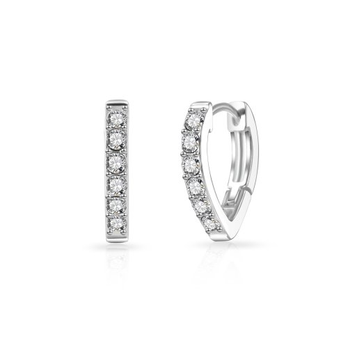 58d590a72 Silver Plated Huggie Hoop Earrings Created with Swarovski Crystals on OnBuy