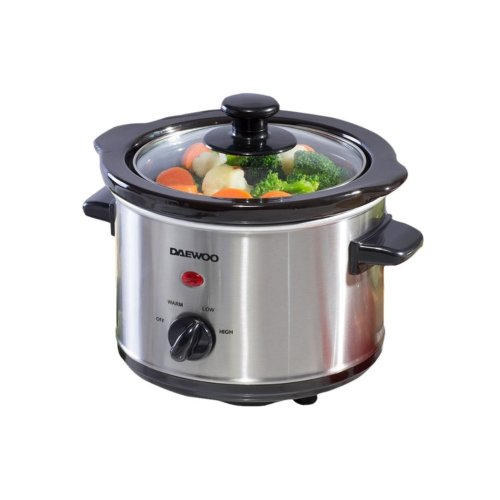 Daewoo Brushed Silver Stainless Steel 3 Heat Setting 1.5L Ceramic Slow Cooker