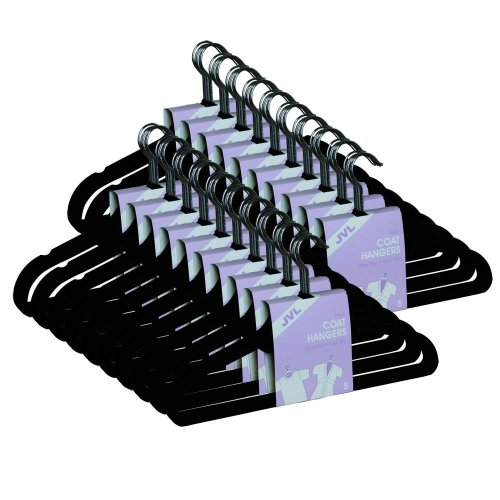 JVL Black 50 pack thin velvet space saving non-slip coat hangers