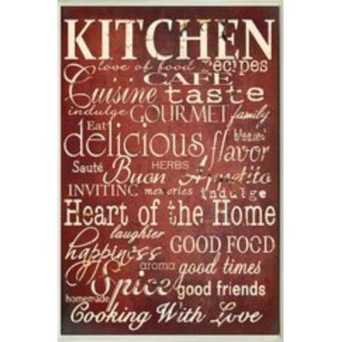 Stupell Industries KWP-943 Red Kitchen Words Rect Wall Plaque